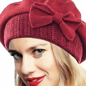 Accessories - HOST PICK 100% Wool Beret with Ribbon Detail